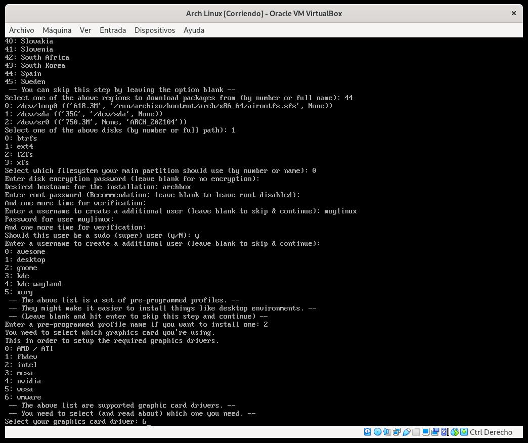 Seleccionando el driver gráfico para Arch Linux