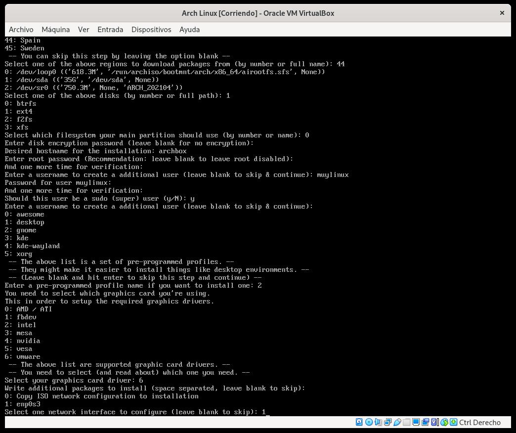 Seleccionando la interfaz de red con archinstall