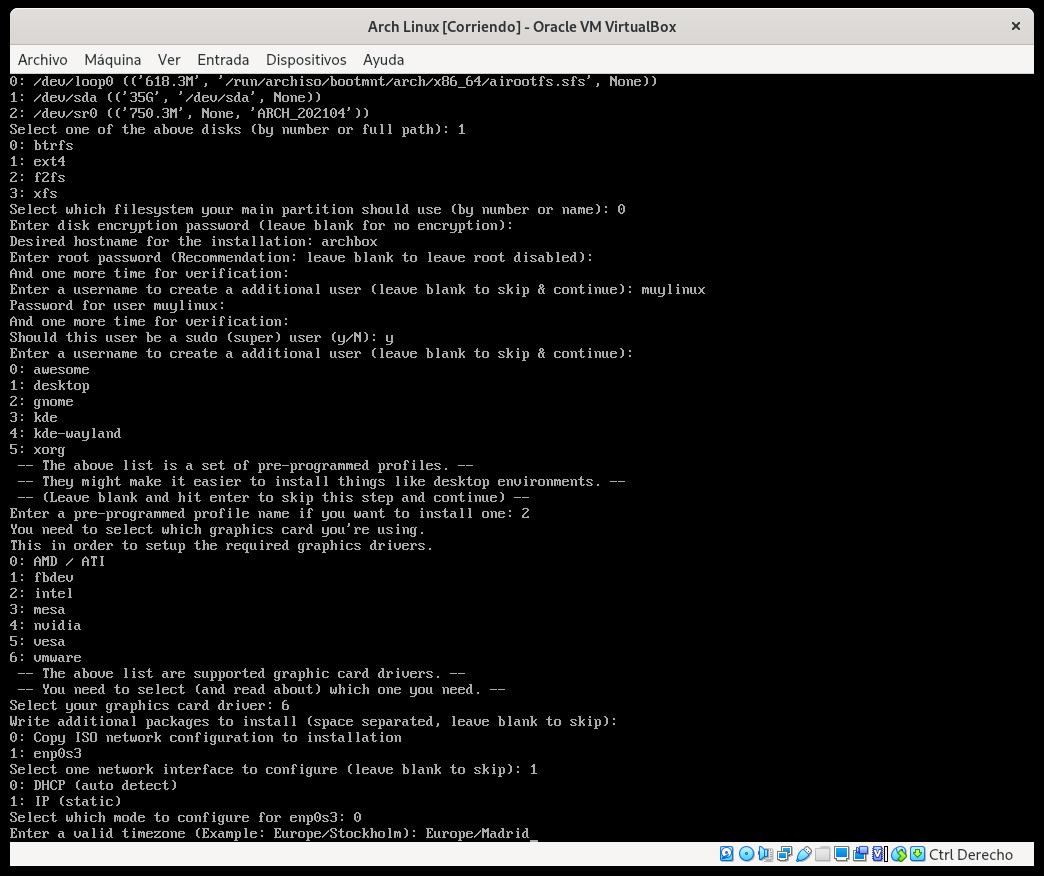 Zona horaria en Arch Linux