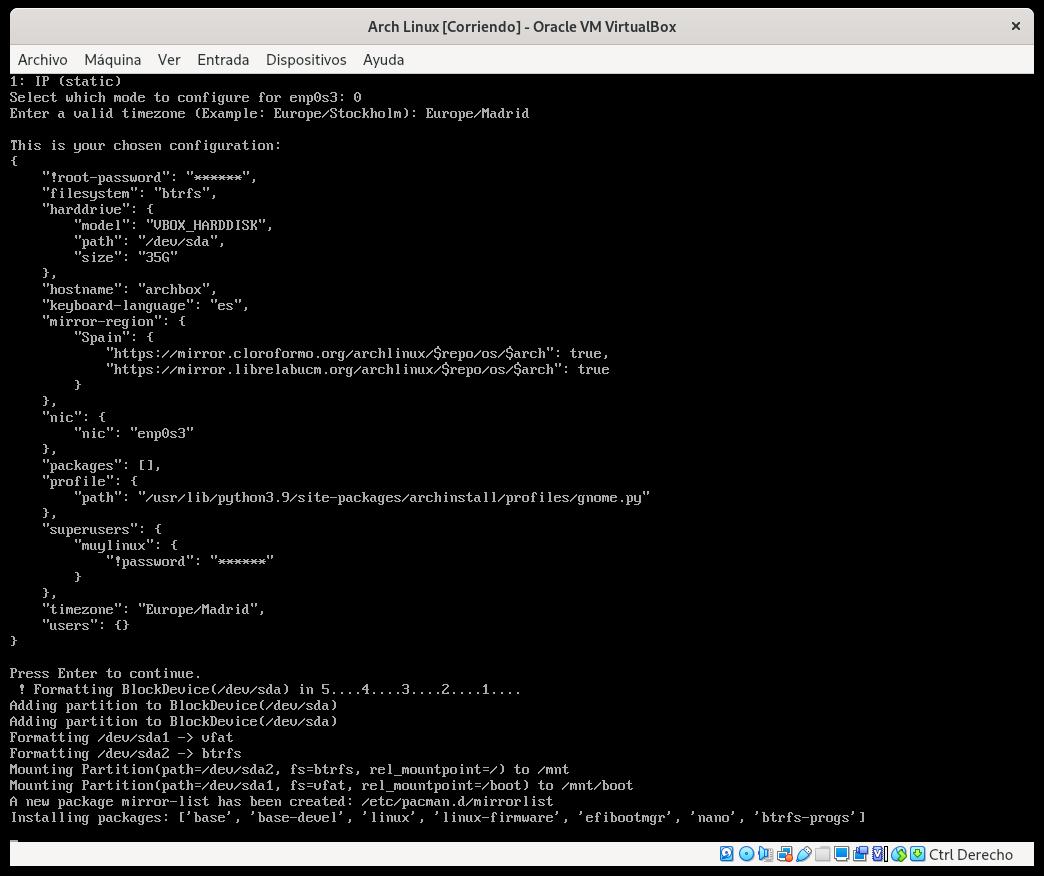 Instalando Arch Linux con archinstall