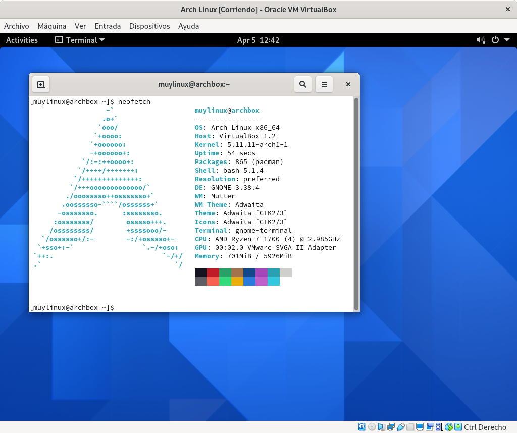 Arch Linux con GNOME instalado con archinstall