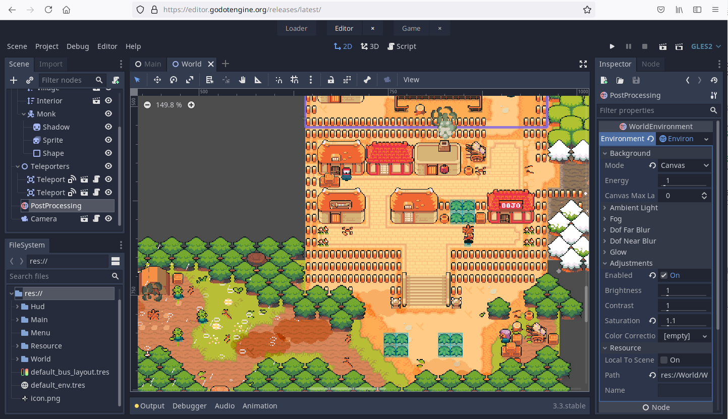 Editor web de Godot 3.3