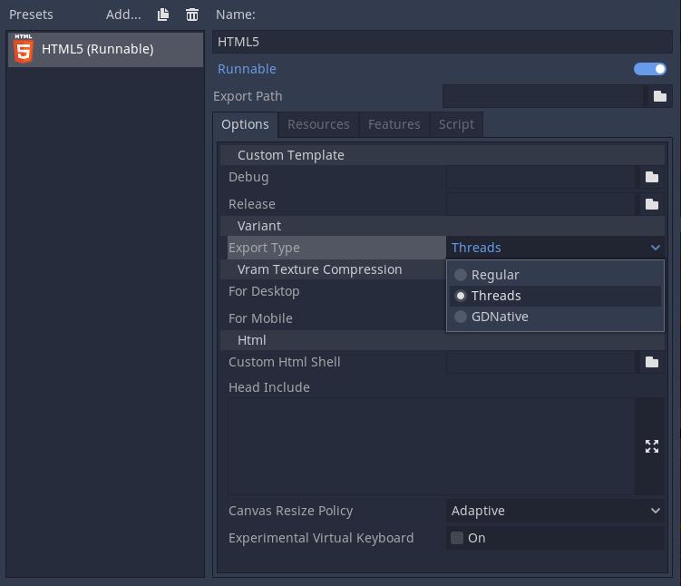 Exportando a HTML5 en Godot 3.3