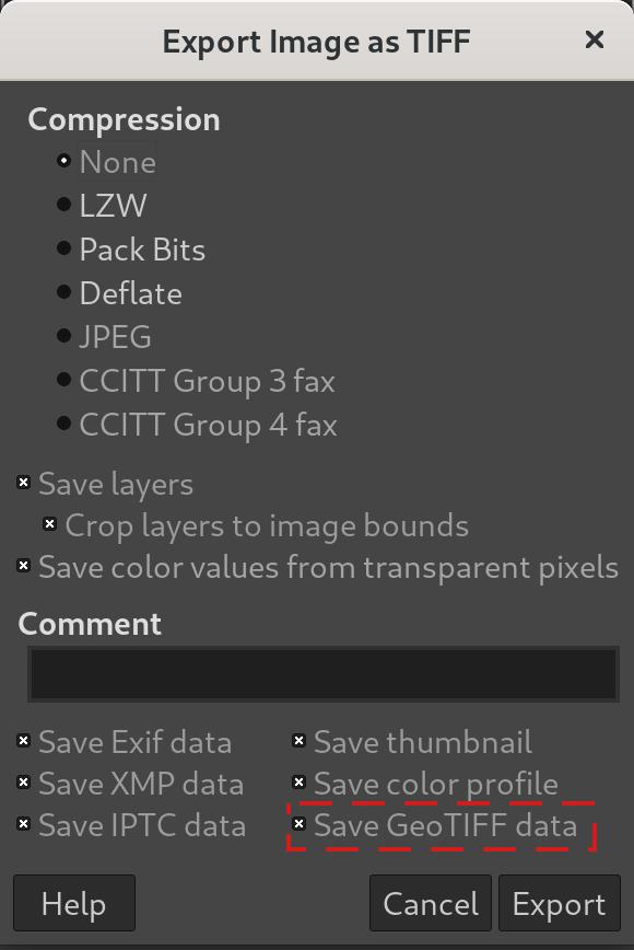 Guardar datos de GeoTIFF en GIMP 2.10.24