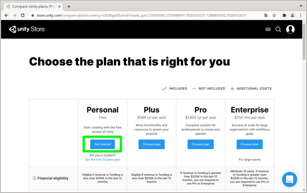 Seleccionar plan para usar el editor de Unity