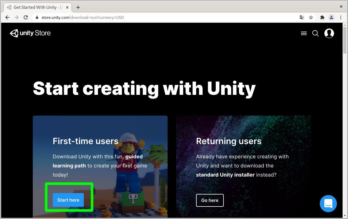 Empezar por primera vez con el editor de Unity