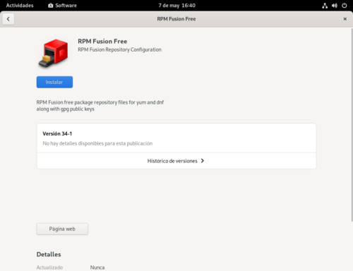 Instalando RPMFusion con GNOME Software en Fedora 34 Workstation