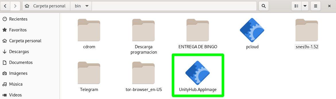 Paquete AppImage de Unity Hub