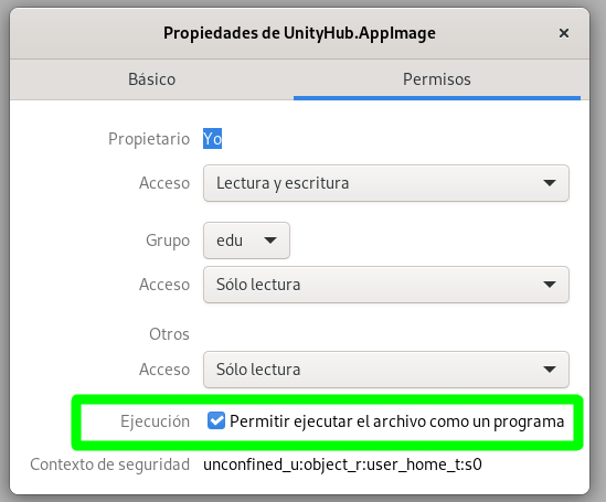 Asignando permisos de ejecución al paquete AppImage