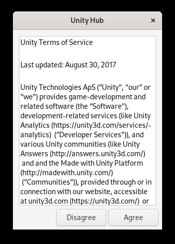 Aceptando los términos de uso de Unity Hub