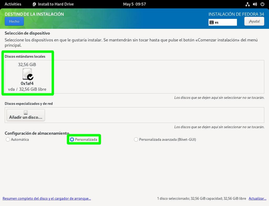 Particionador oficial de Fedora 34 Workstation