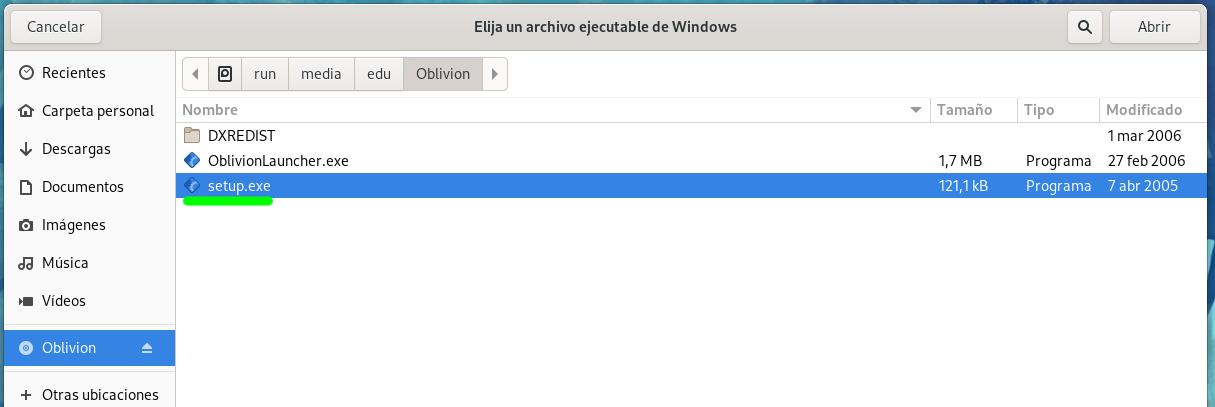 """Seleccionando el fichero """"setup.exe"""" para instalar una aplicación con Bottles"""