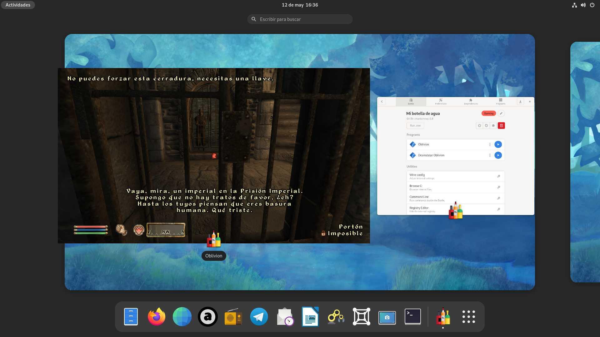 The Elder Scrolls: Oblivion ejecutado en Fedora 34 Workstation con la versión Flatpak de Bottles