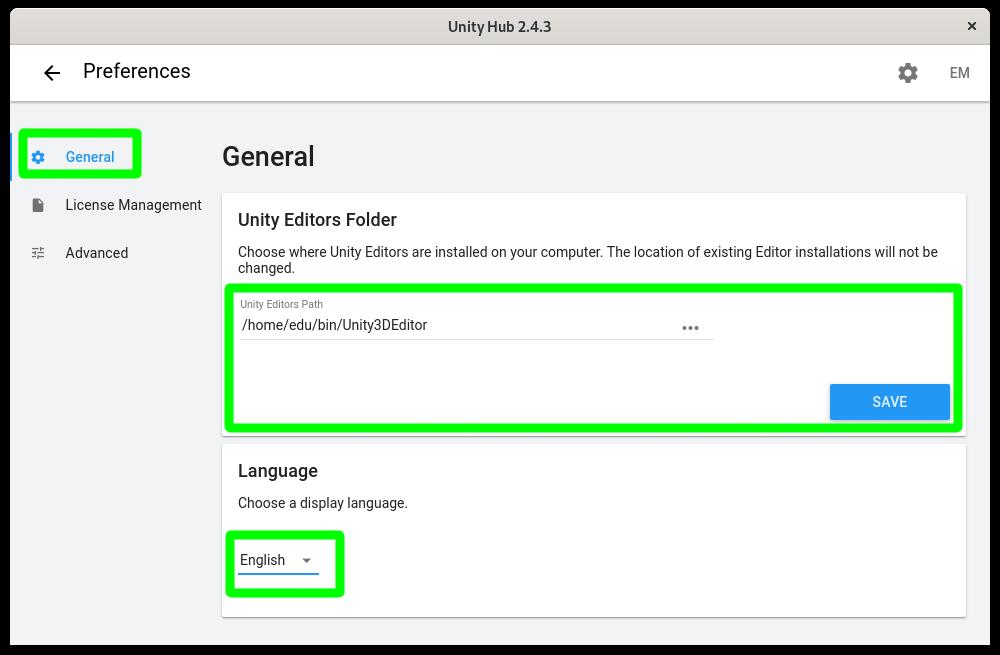 Estableciendo la ubicación del editor de Unity en Linux