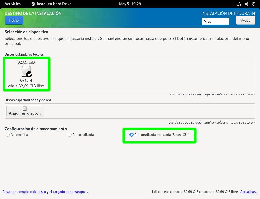 Iniciando el particionador Blivet en Fedora 34 Workstation