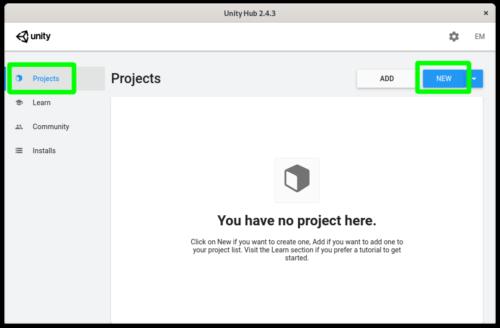 Creando un proyecto nuevo en el editor de Unity para Linux