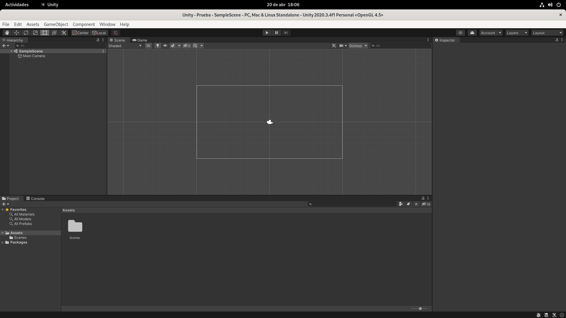 Editor de Unity para Linux en ejecución