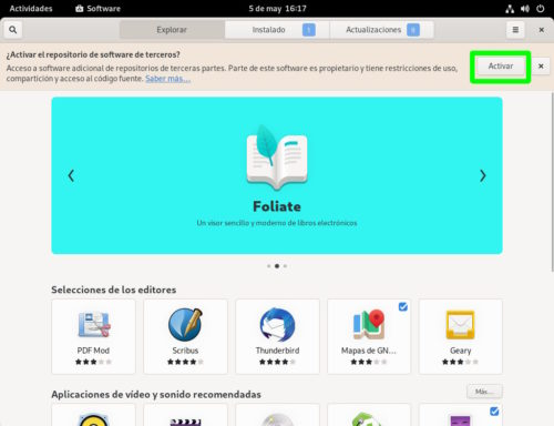 Activar el software de terceros en Fedora 34 Workstation