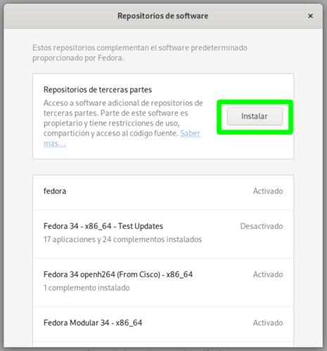 Activando los repositorios de terceros en Fedora 34 Workstation