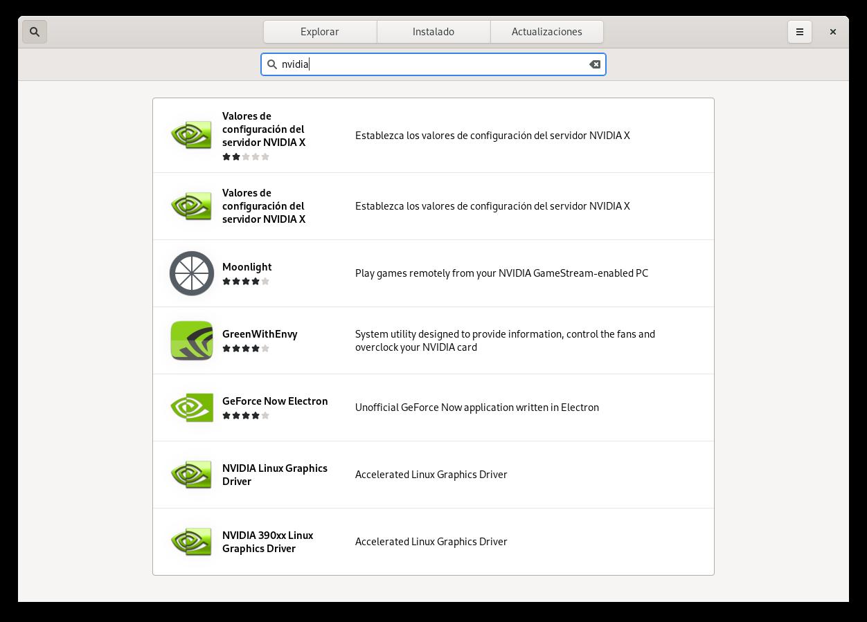 Instalar driver de NVIDIA en Fedora 34 Workstation con GNOME Software