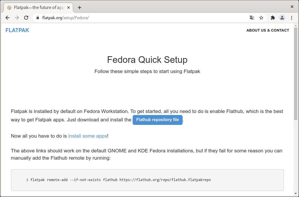 Descargar el fichero del repositorio de Flathub para Fedora 34 Workstation