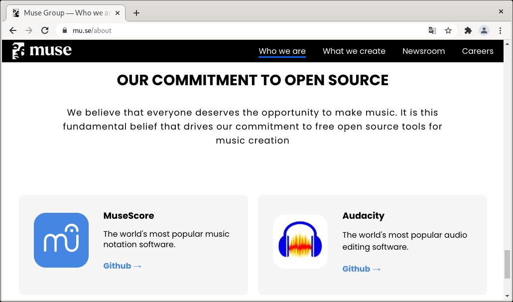 La web de Muse Group indicando que es la responsable de MuseScore y de Audacity
