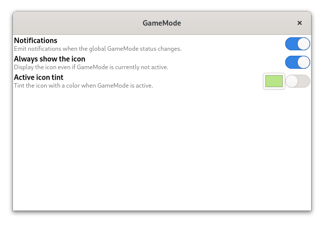 Opciones de la extensión de GameMode para GNOME Shell