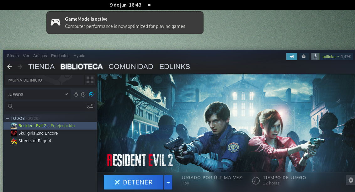 GameMode activándose tras iniciar Resident Evil 2 remake