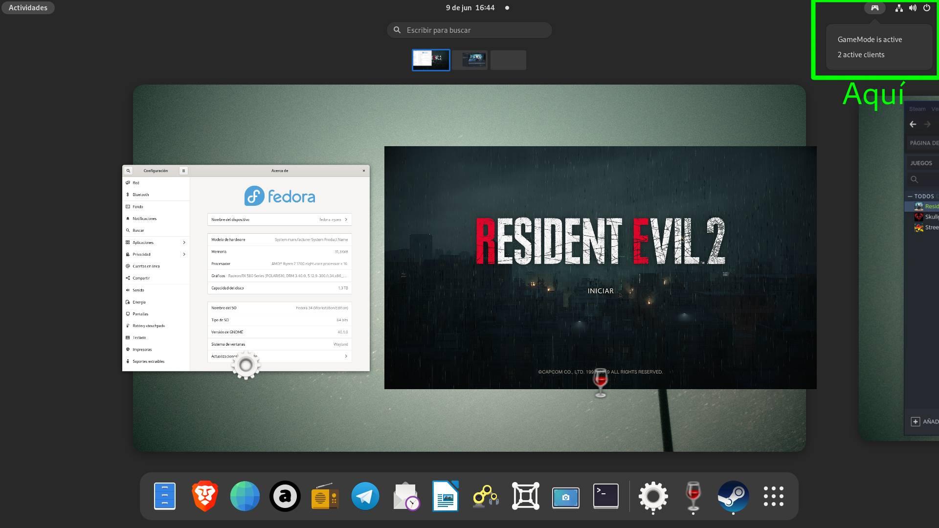 El icono de la extensión indicando que hay dos clientes de GameMode activos