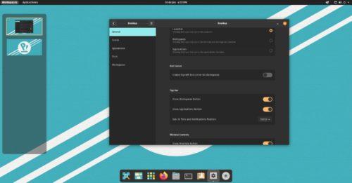 Vista de los espacios de trabajo de COSMIC en Pop!_OS 21.04