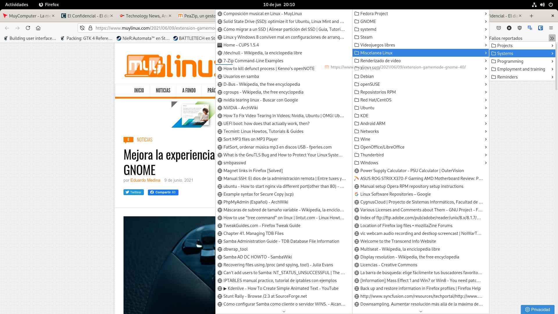 Arrastrando pestañas en la sesión de Wayland de Fedora 34 Workstation (GNOME)