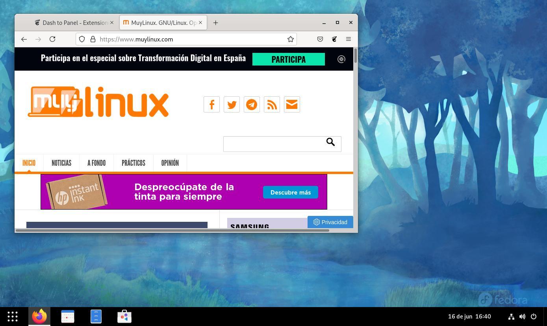 Dash to Panel en Fedora 34 Workstation (GNOME 40)