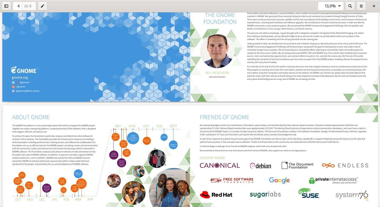 informe de GNOME Foundation correspondiente al año 2019 convertido en folleto con PDF Mix Tool
