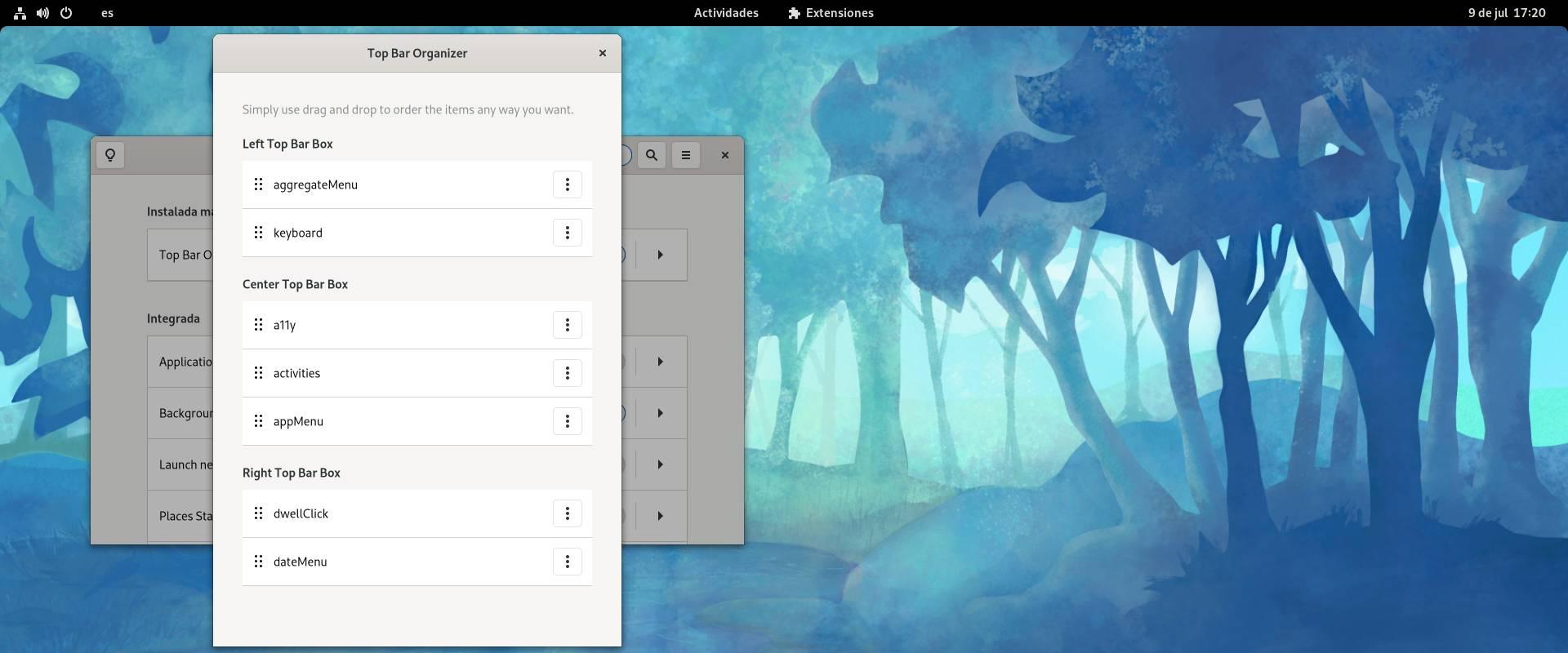 Top Bar Organizer en Fedora 34 Workstation (GNOME 40)