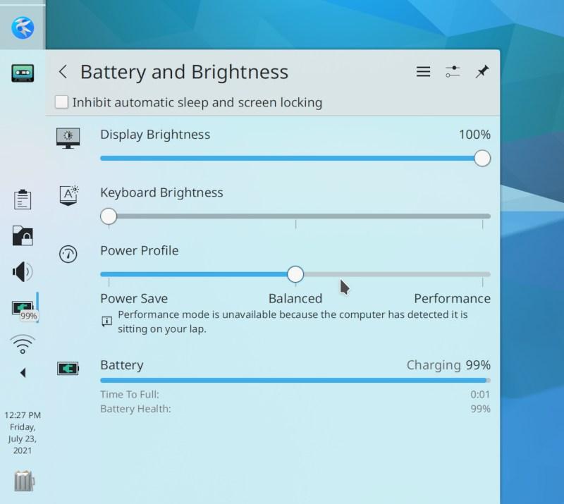 Gestión de energía de KDE Plasma
