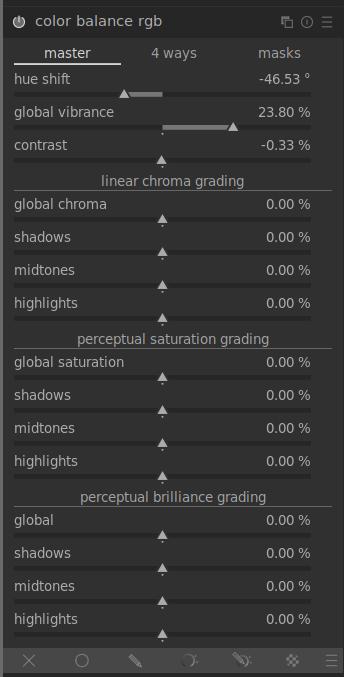 módulo de balance de color de darktable 3.6