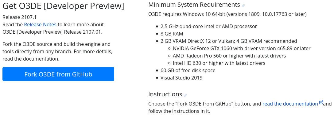 Requisitos de Open 3D Engine