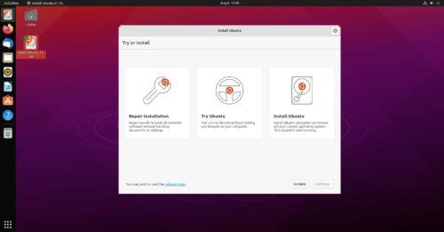Opciones del nuevo instalador de Ubuntu, que permite reparar, probar e instalar