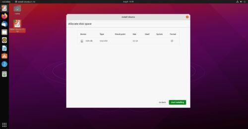 Destino de la instalación de Ubuntu