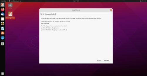 Particiones de la instalación de Ubuntu