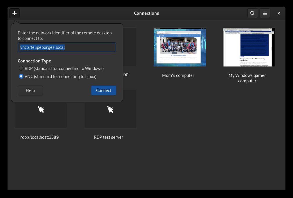 Conexiones para escritorios remotos en GNOME 41