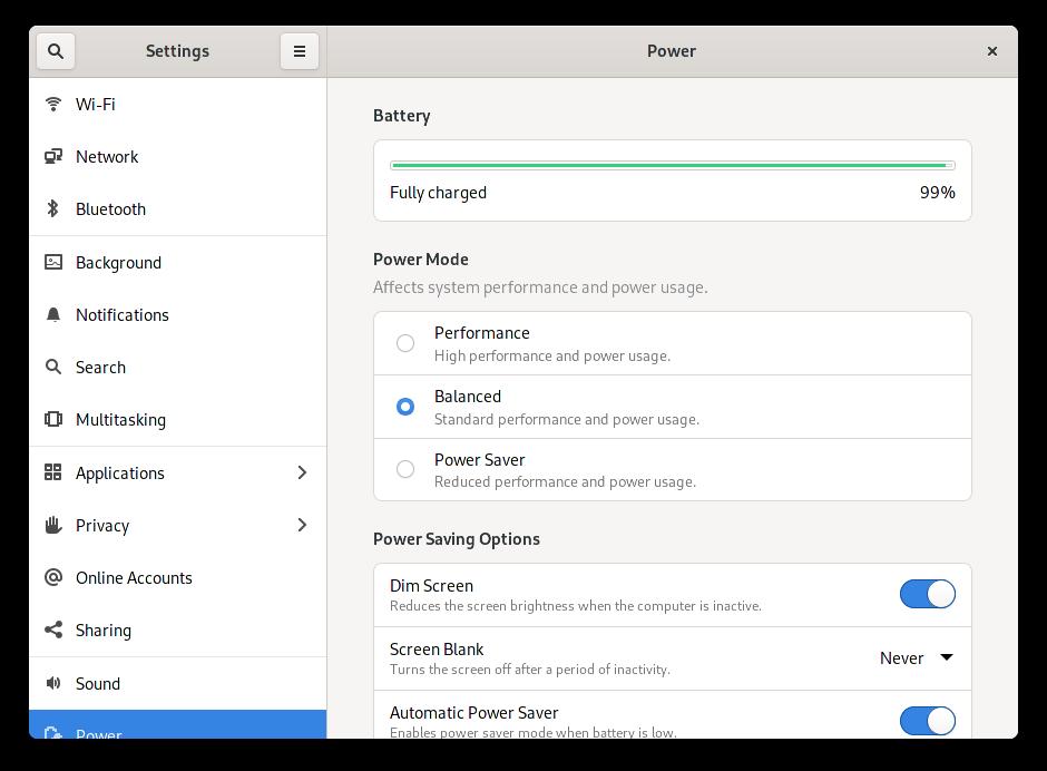 Configuración de la energía en GNOME 41