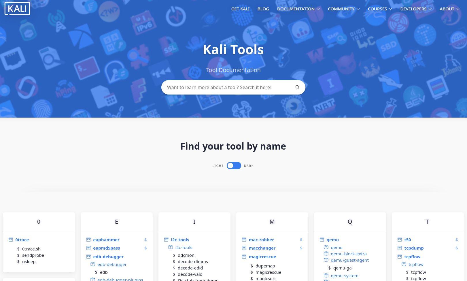 Sitio web de la documentación de las herramientas de Kali Linux