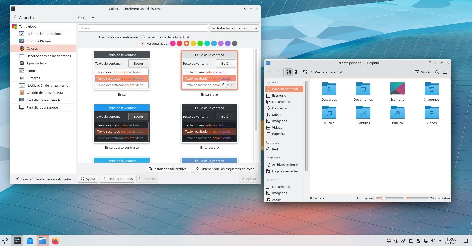 Color de acentuación en KDE Plasma 5.23