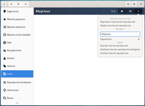 Crear una lista de reproducción personalizada en Lollypop