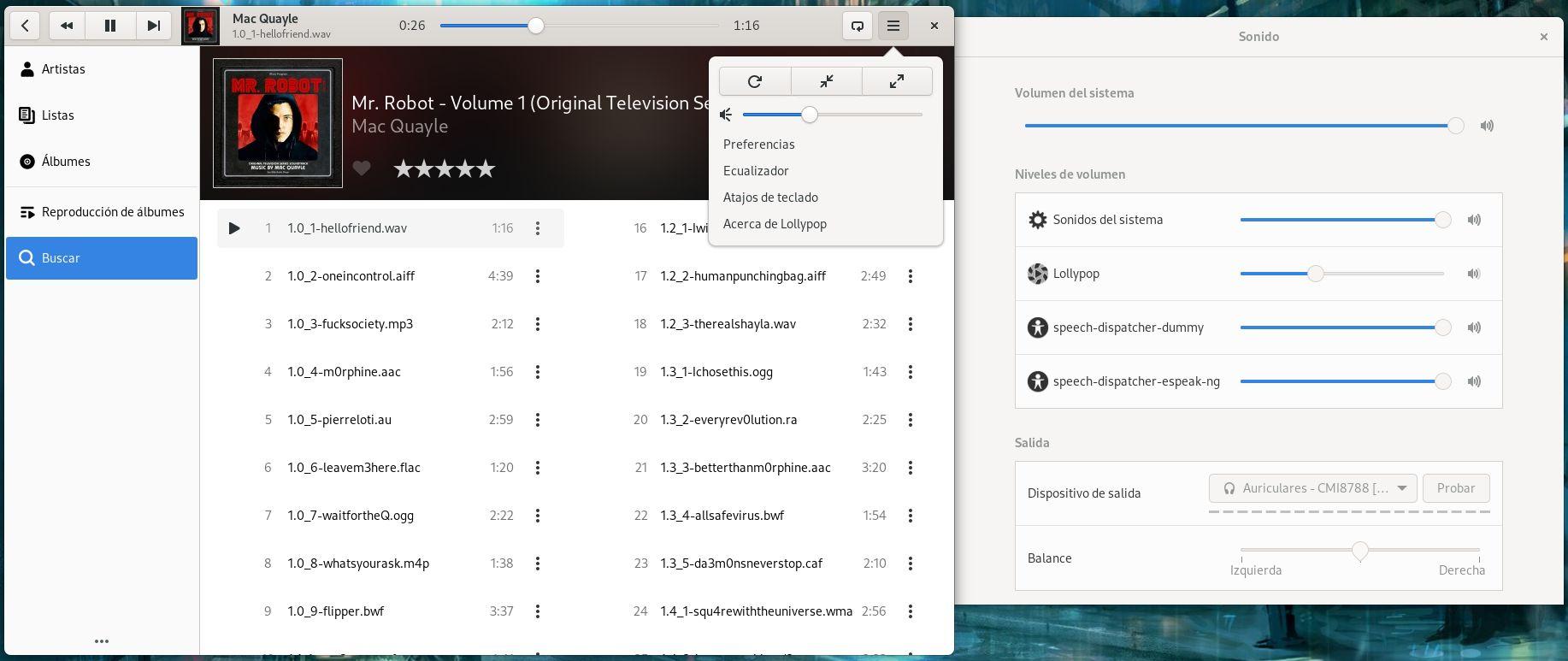 Gestión centralizada del volumen del sonido en GNOME