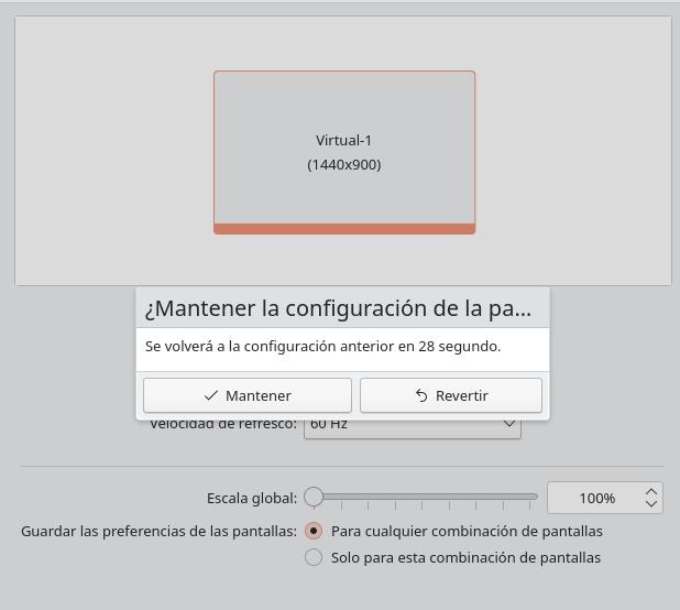 Confirmar el cambio de resolución de la pantalla en KDE Plasma 5.23
